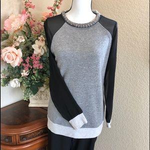 Sheer Sleeve Embellished Sweatshirt